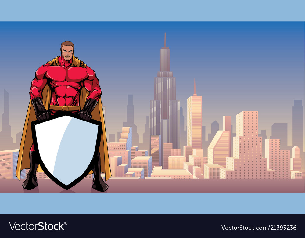 Superhero holding shield in city