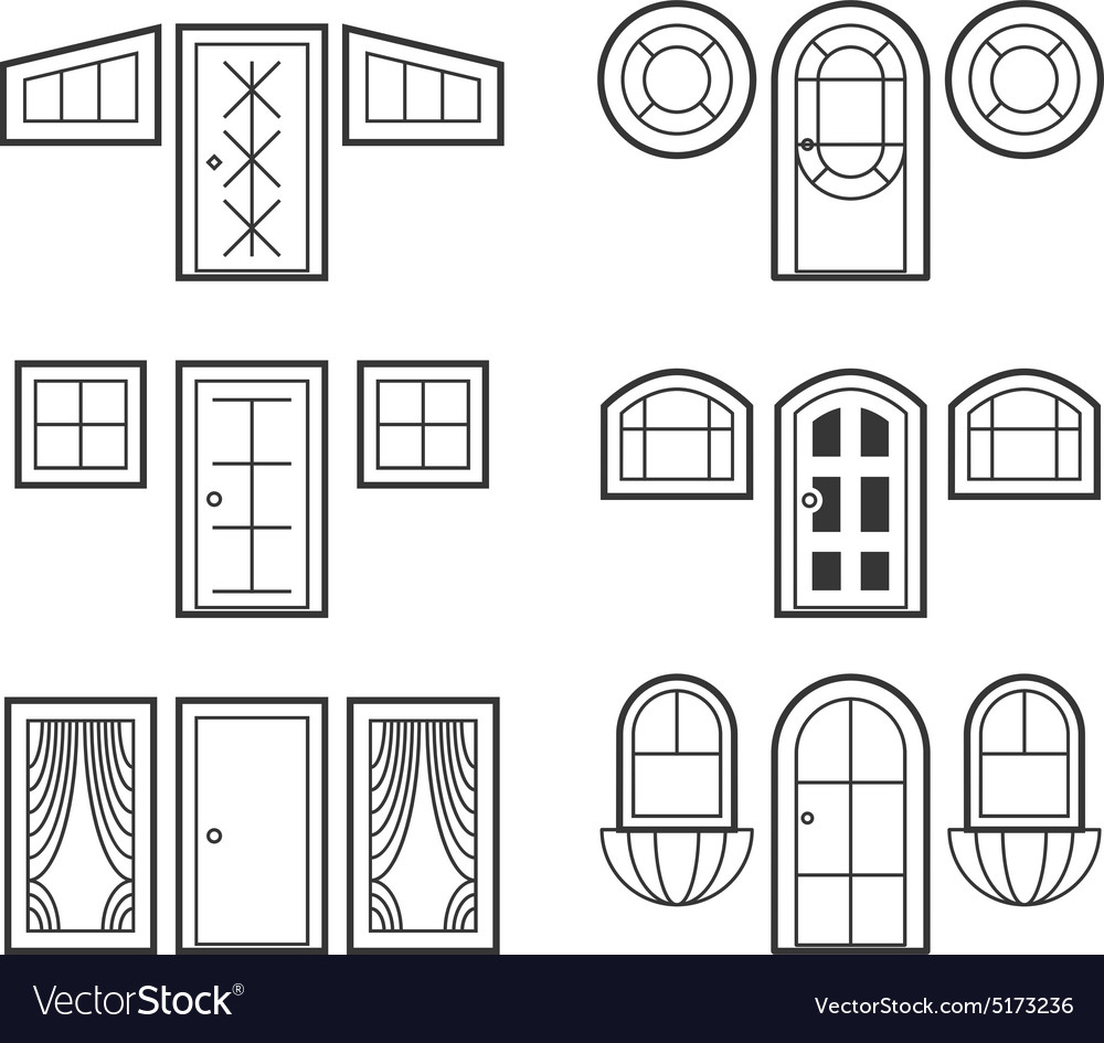 Window and door icons set