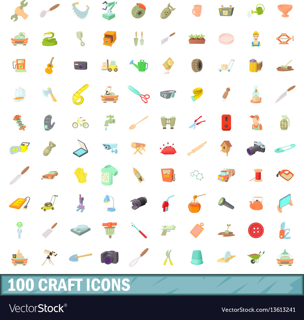 100 craft icons set cartoon style