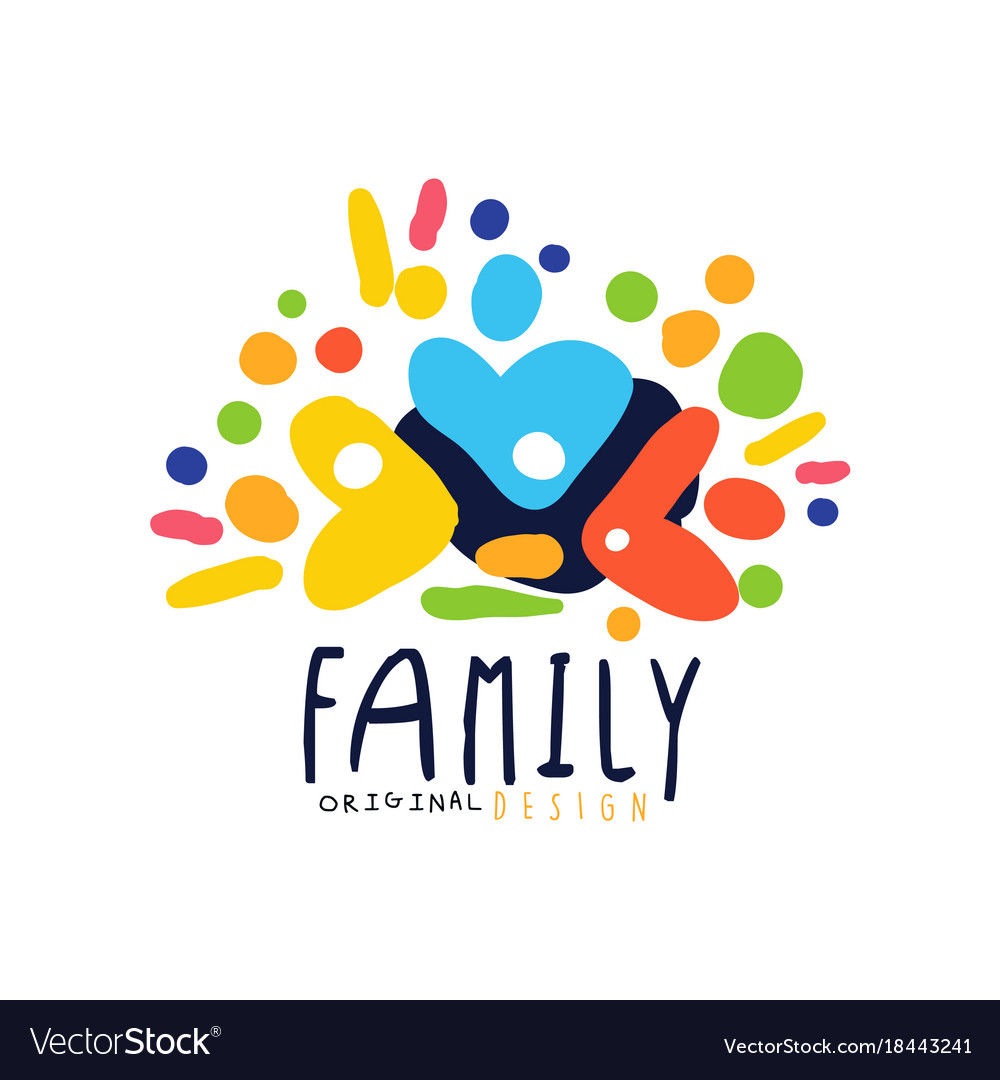Abstract colorful family logo design template