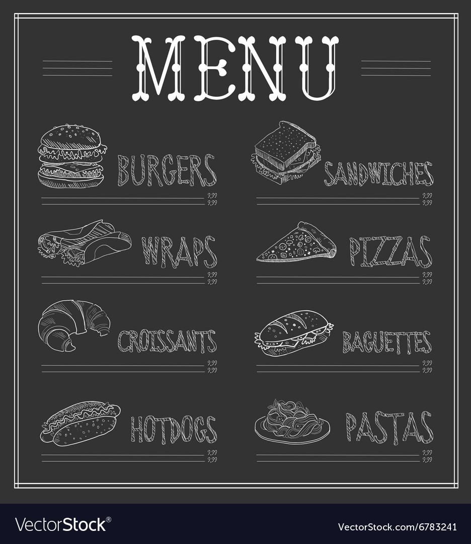 chalkboard menu template royalty free vector image
