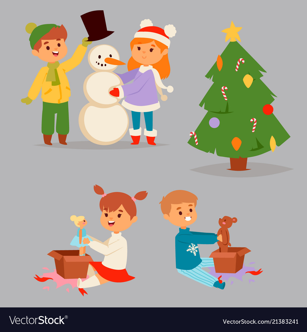Christmas kids character playing winter vector
