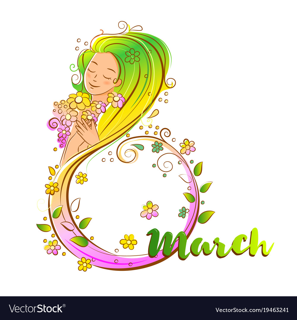 Colored 8 march concept with beatiful woma vector image