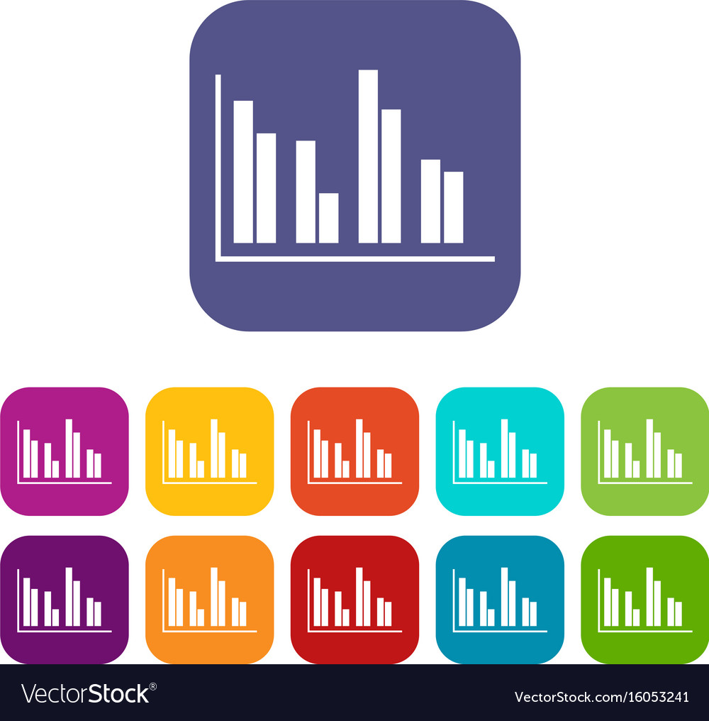 Financial analysis chart icons set