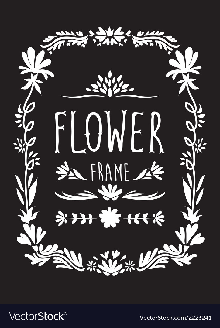 Flower frame hand drawn black and white