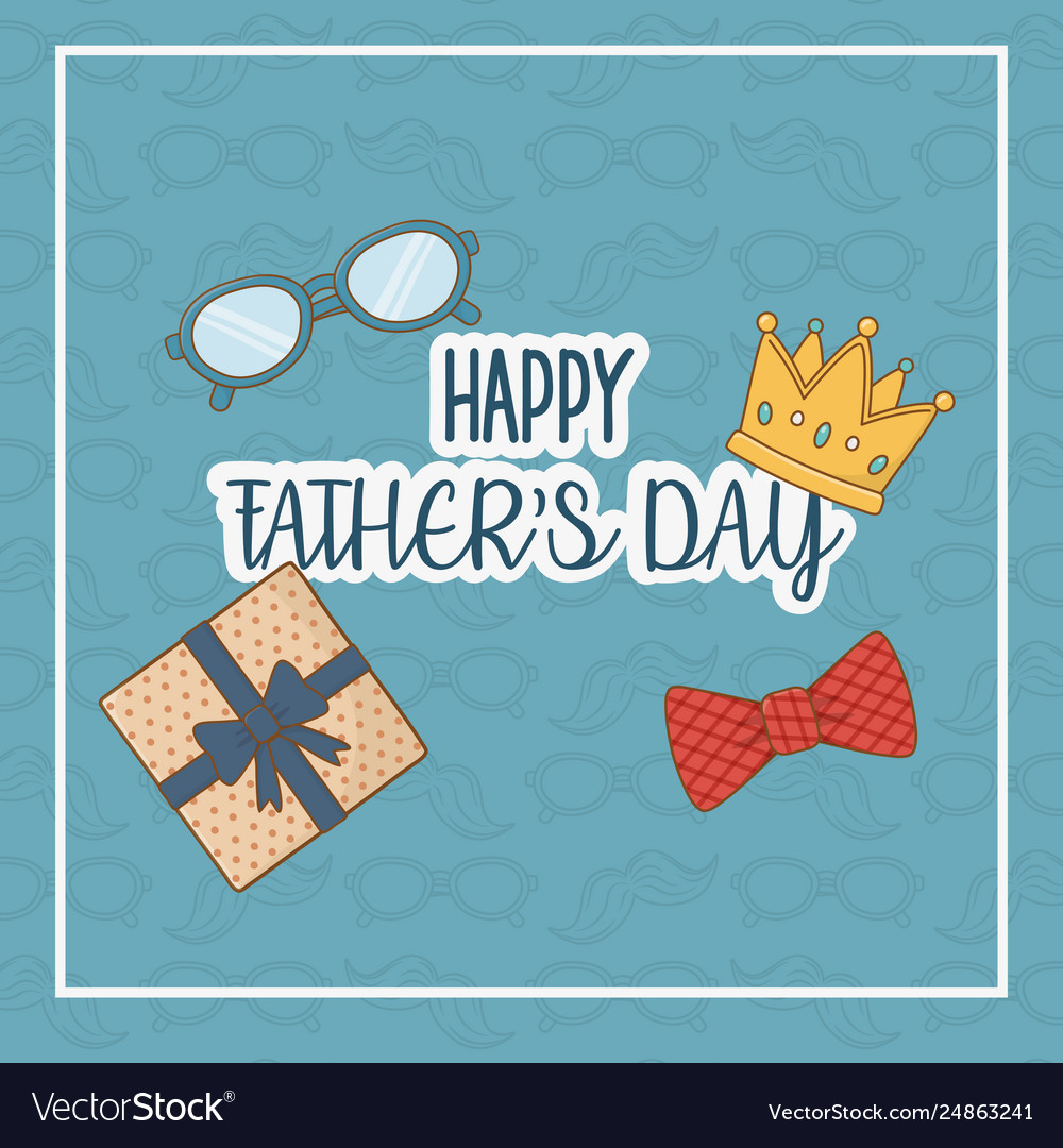 Happy fathers day card with set icons