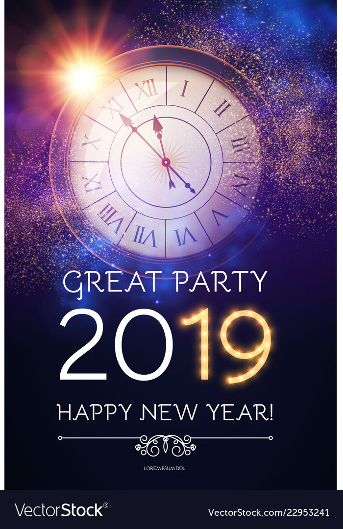 Happy hew 2019 year clock gold shimmering lights