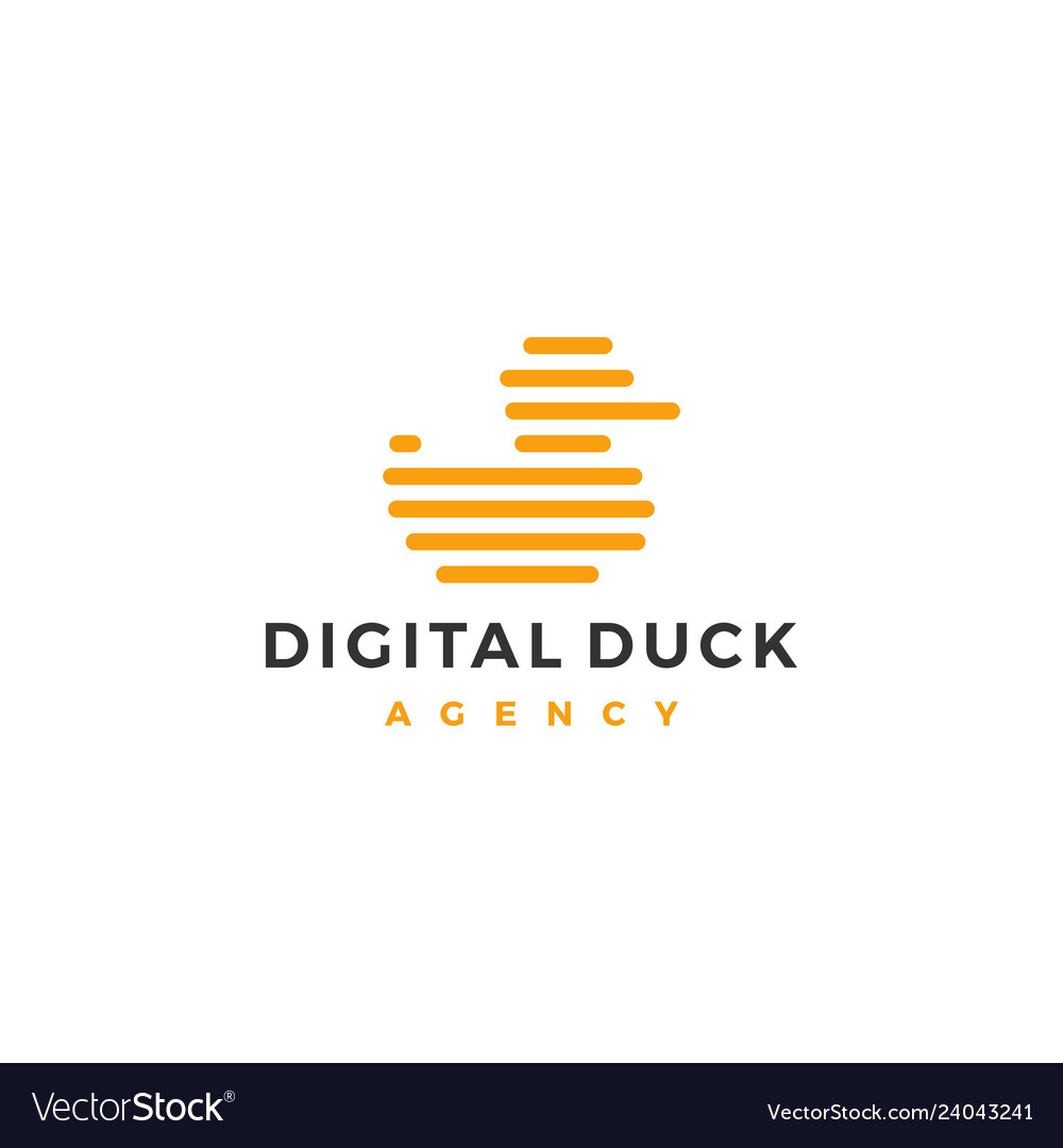 Little duck logo icon line outline monoline