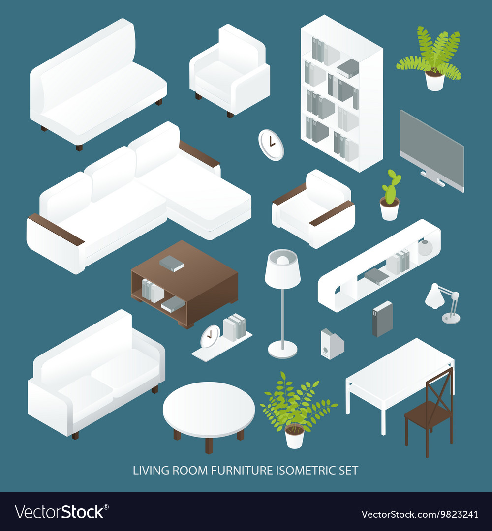 Living Room Furniture Isometric Set
