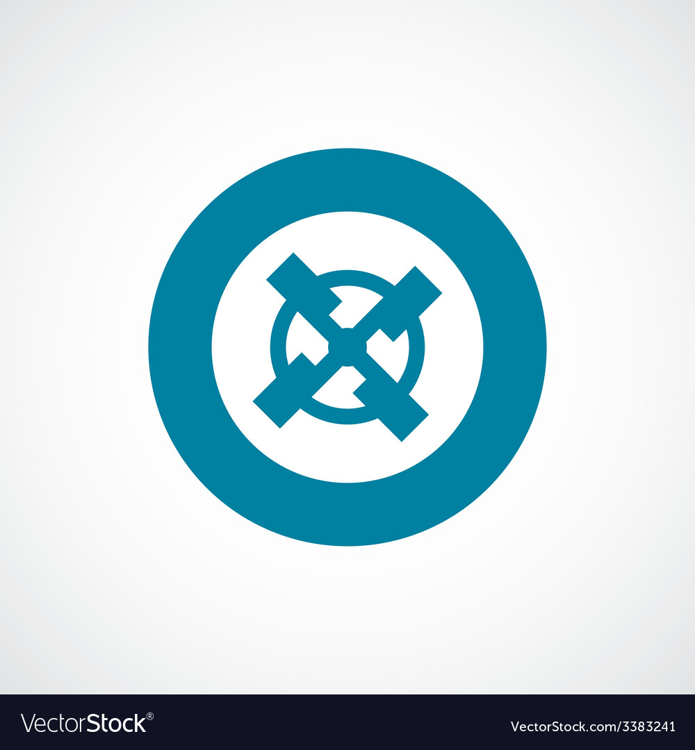 Mill bold blue border circle icon vector