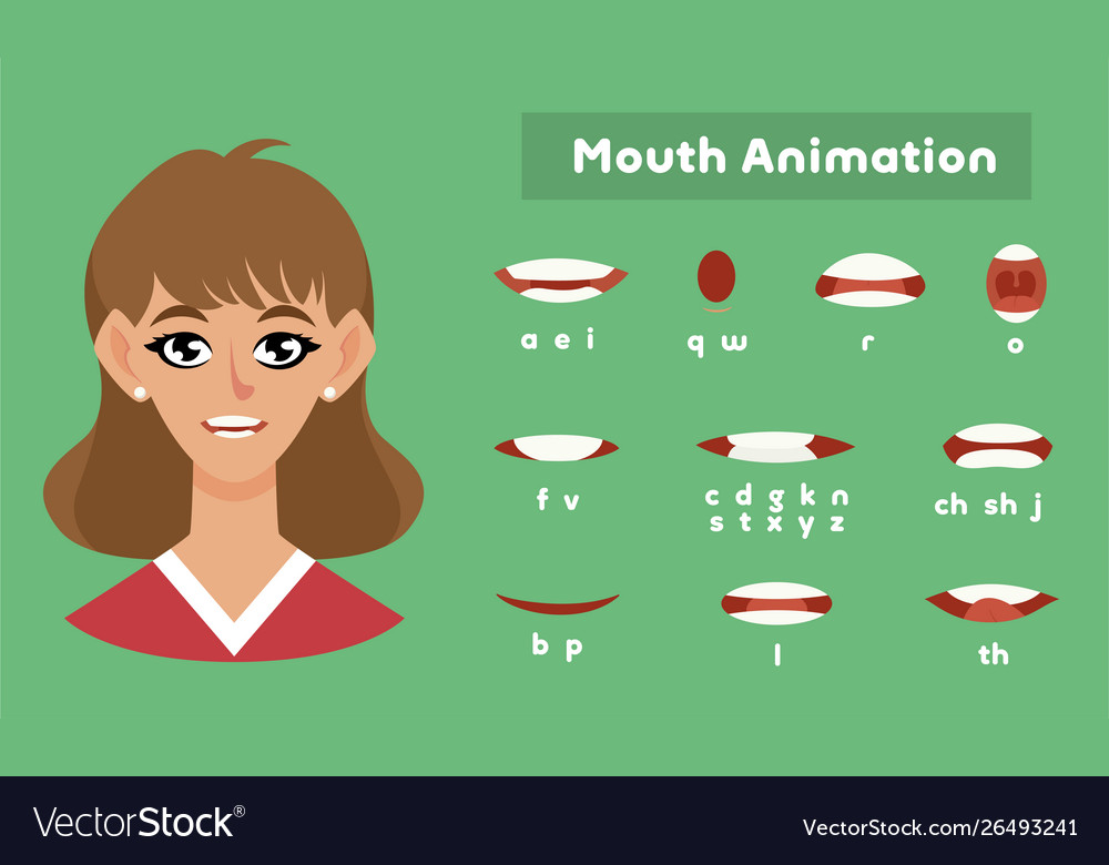 Mouth animation for a girl female pronunciation
