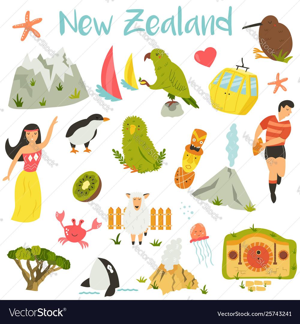 New Zealand Set Symbols Landmarks Animals