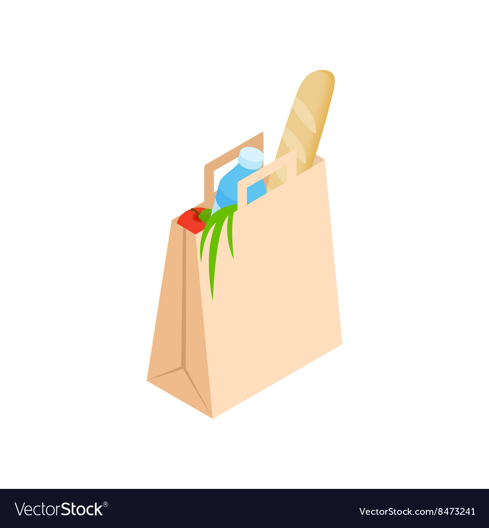Paper bag with food icon isometric 3d style