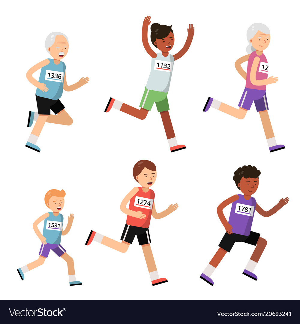 Running people of different ages sport characters vector image