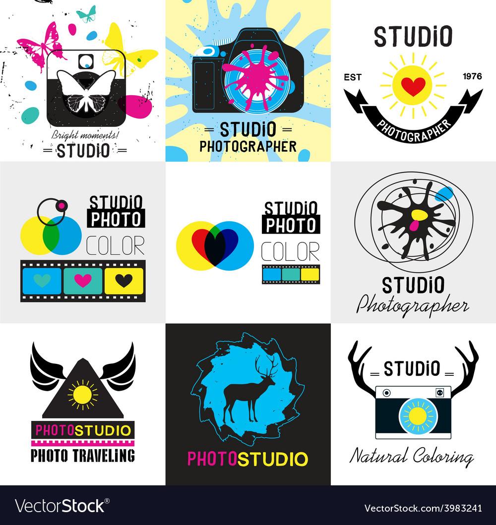 Set of vintage photo studio logo labels badges