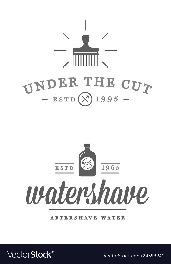 Set vintage barbershop labels templates