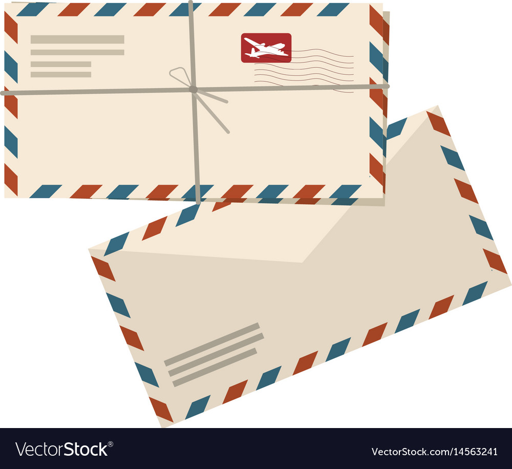 Two airmail envelopes on white