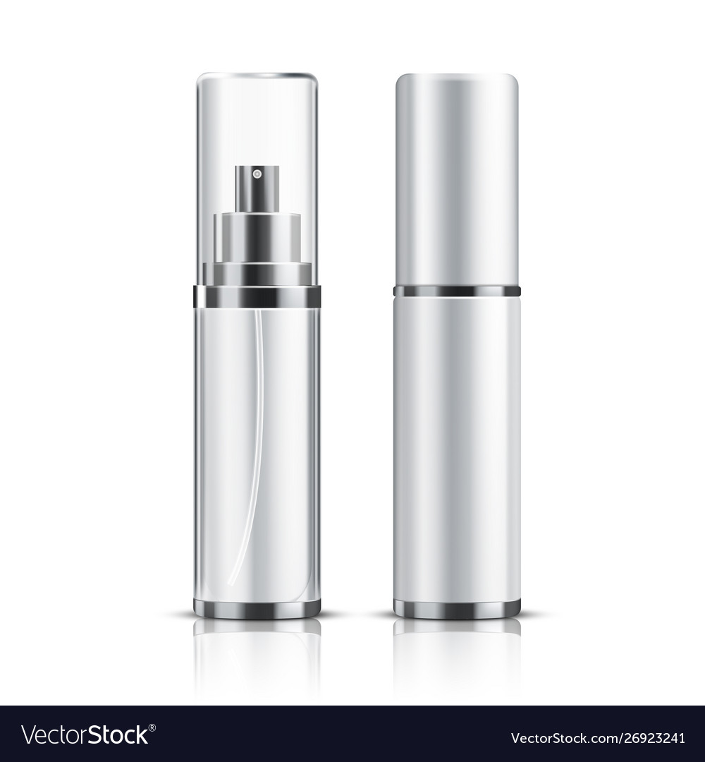 Two realistic cosmetic bottle on a white