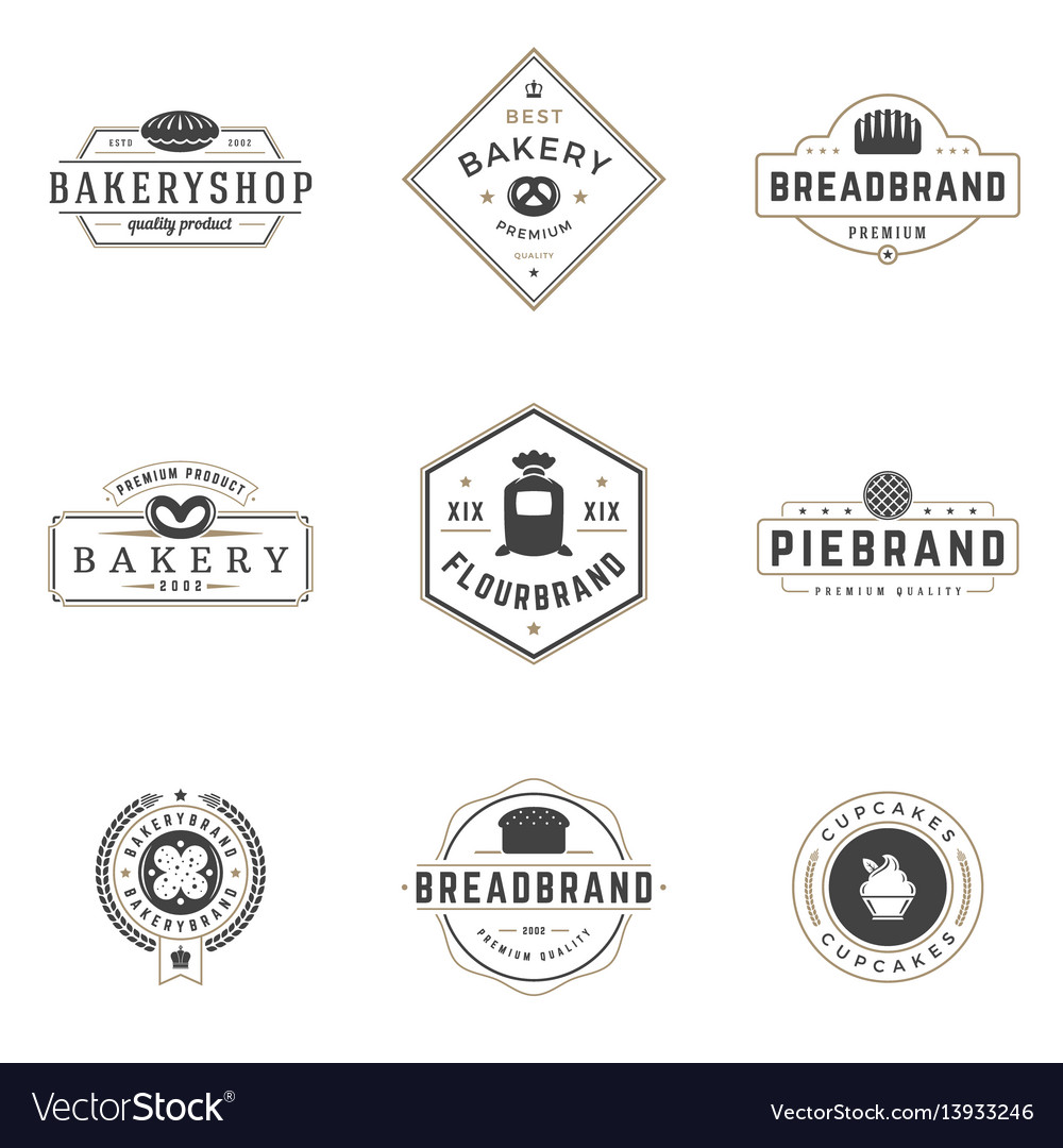 Bakery shop logos templates set object and