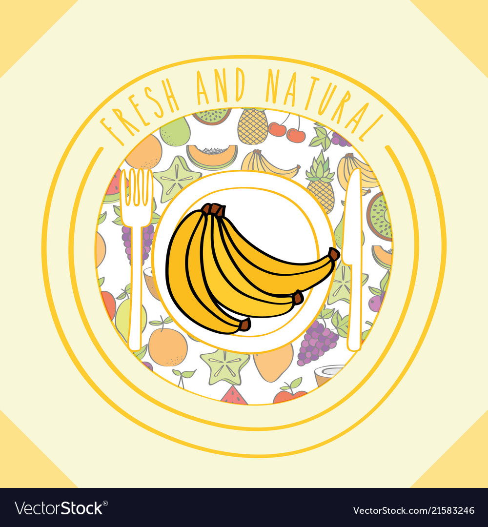 banana fresh and natural fruits food label vector image