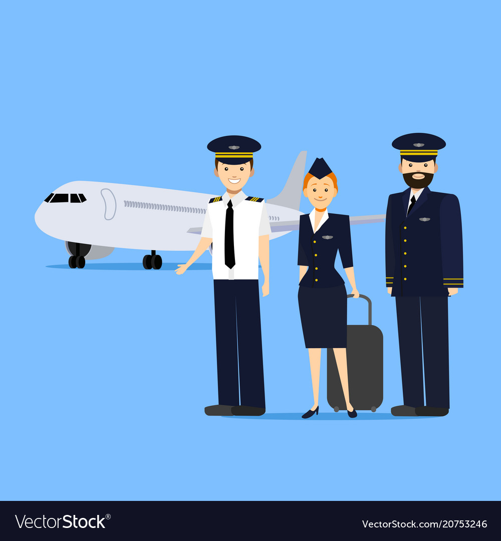 Cartoon aviation crew members vector image