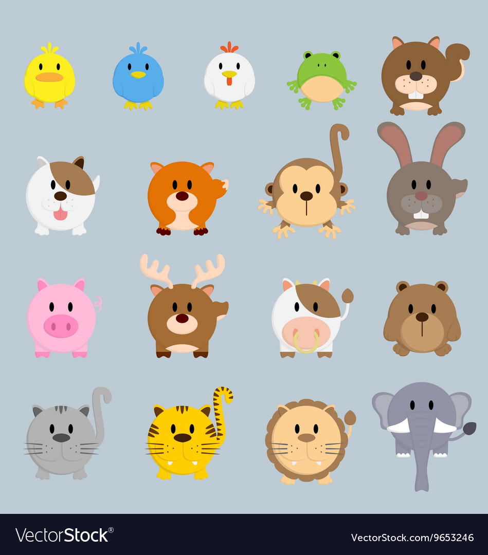 Circle round cartoon color animal