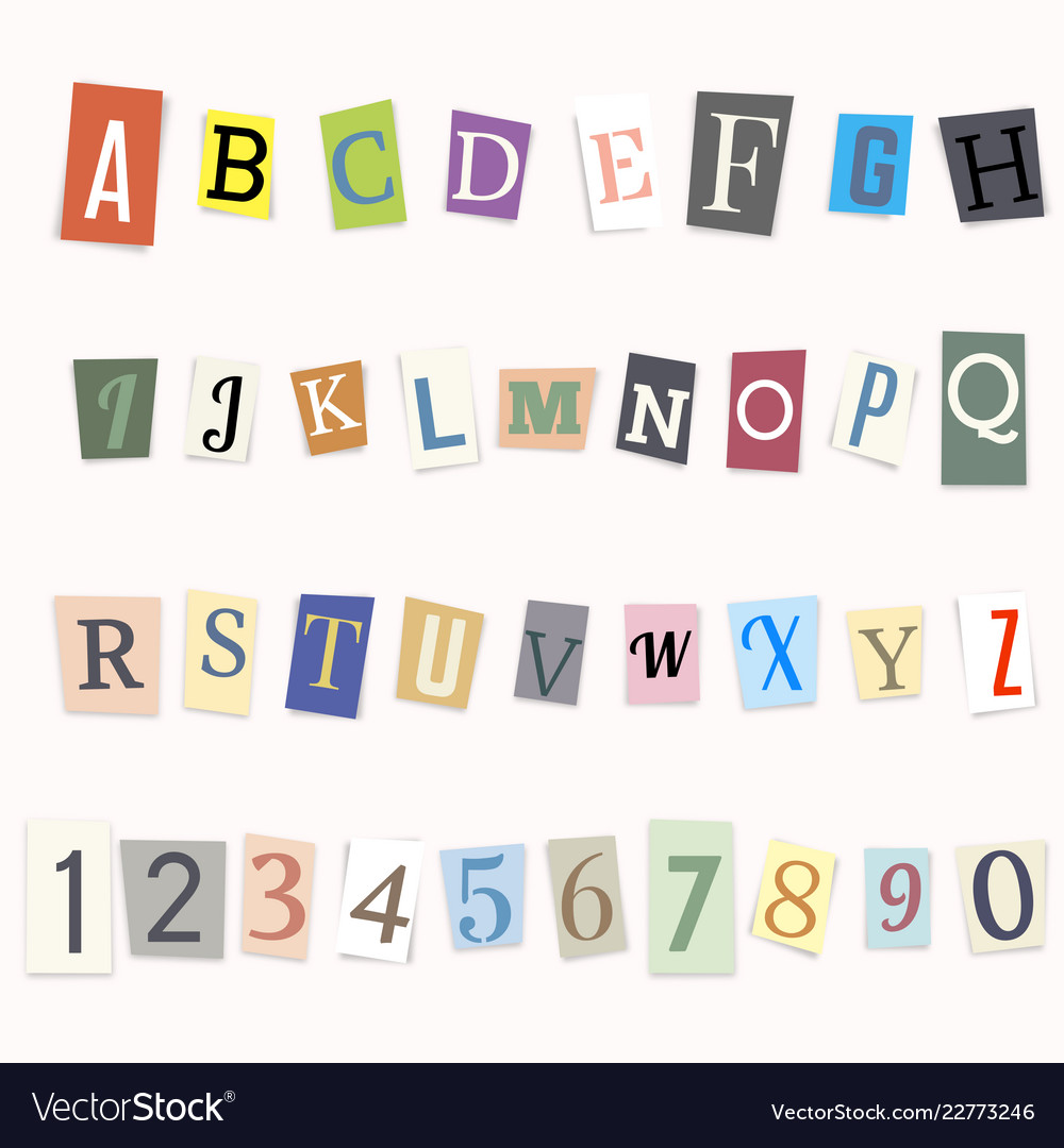 Cut letters of the alphabet and numbers