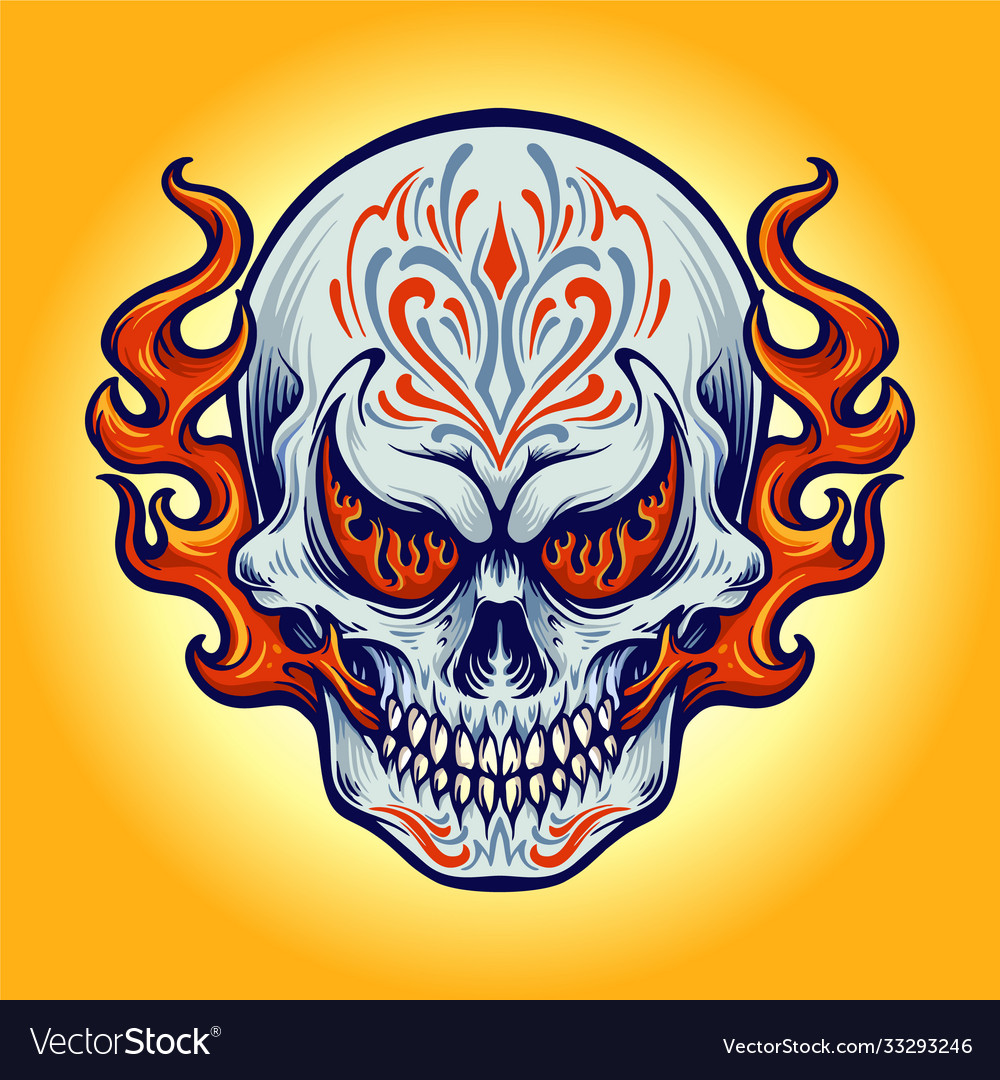Dia de los muertos fire skull