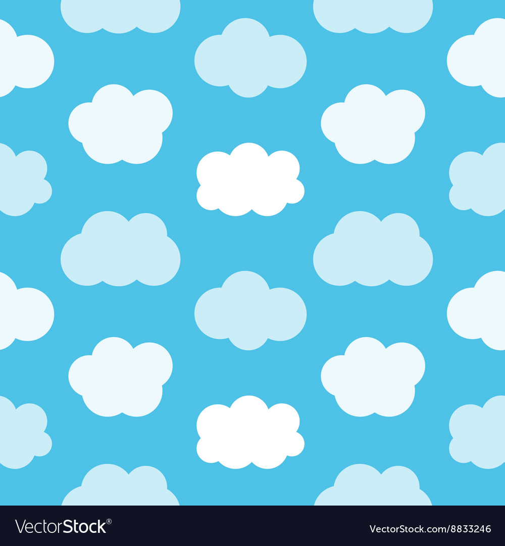Flat design cute blue sky with clouds pattern