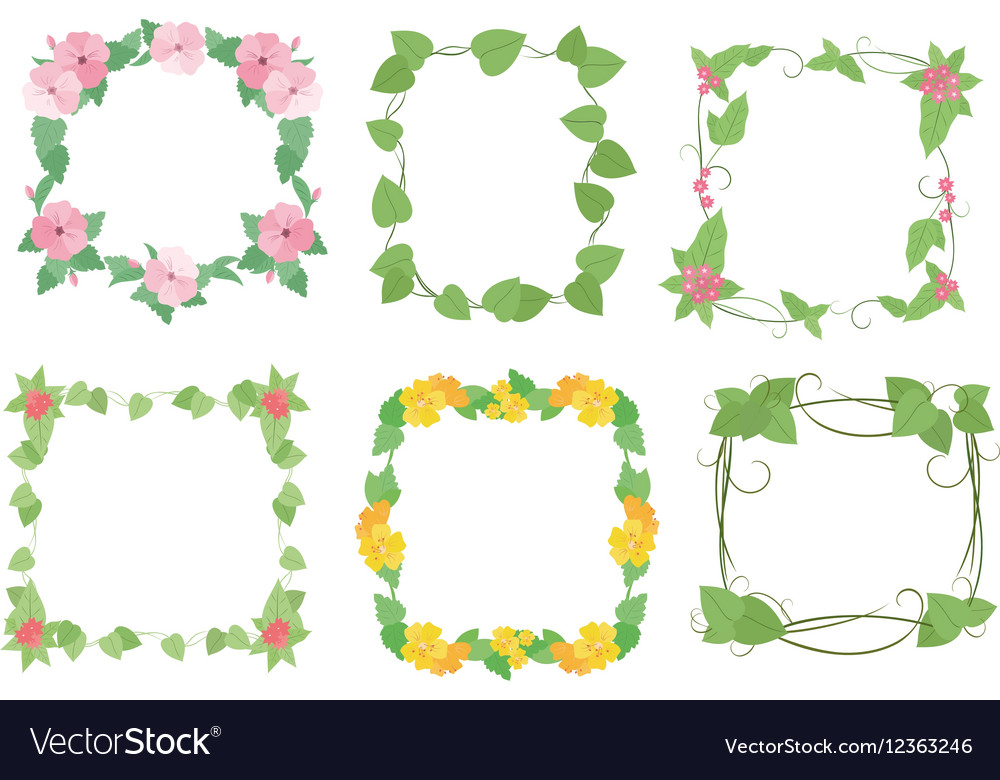 Floral frames with flowers Royalty Free Vector Image