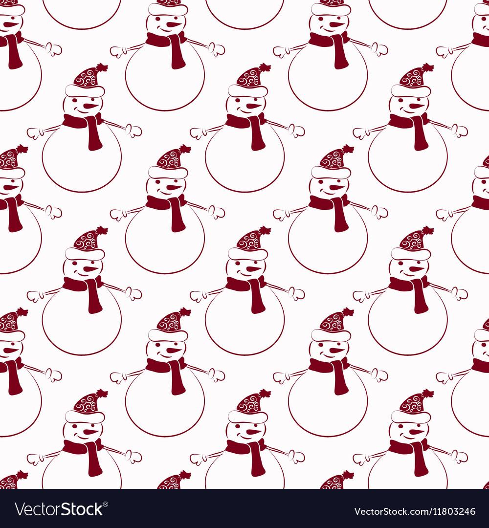 Funny Snowmen Seamless pattern vector image