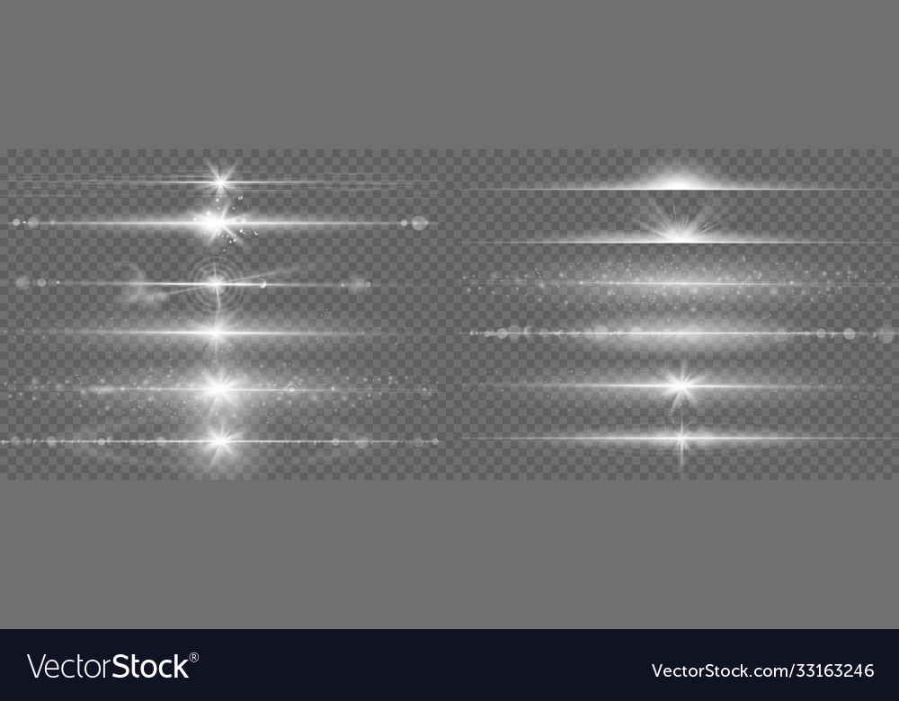 Glares lines effect horizontal optical lens flare vector