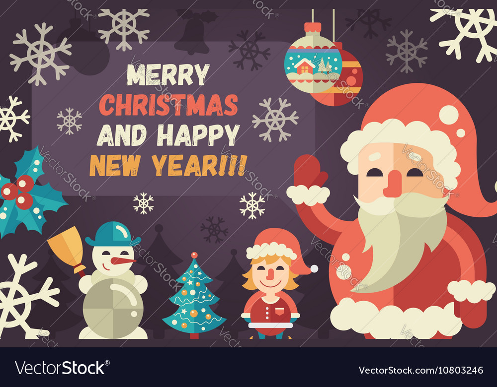 Merry Christmas and Happy New Year flat design