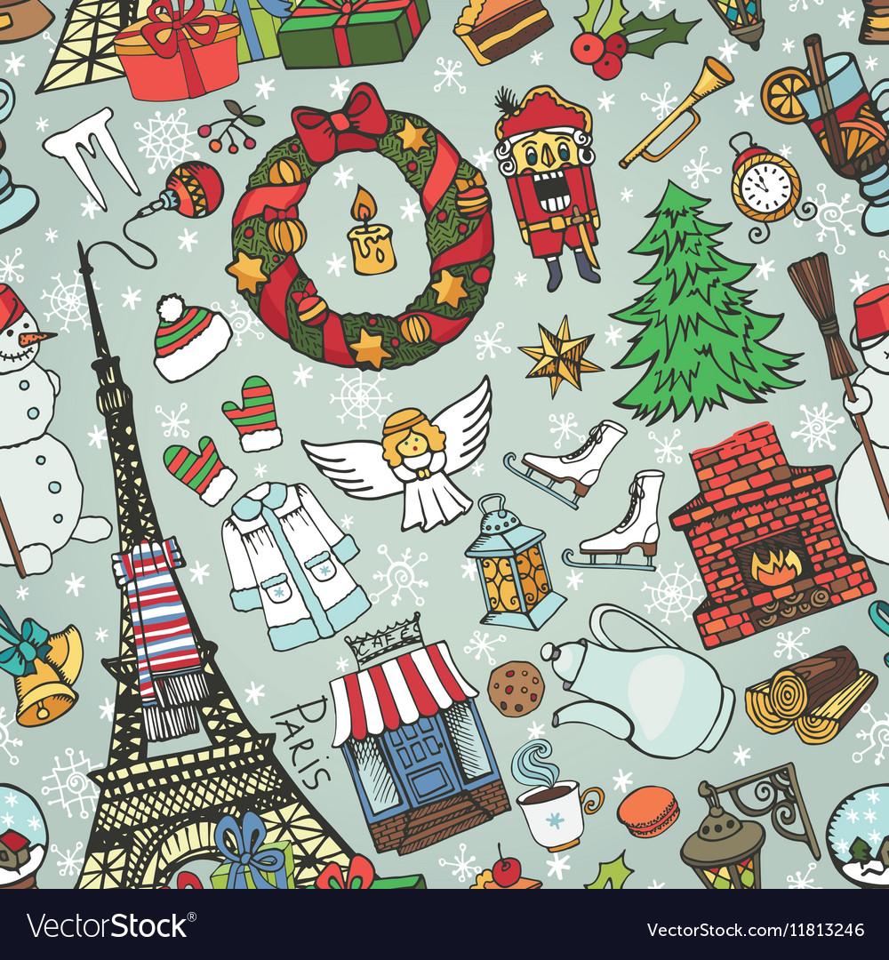 Paris winterDoodle christmas symbols seamless vector image