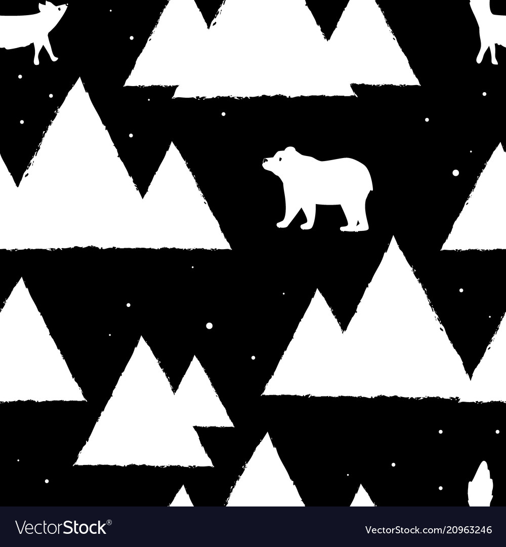 Polar white bears and foxes with triangle