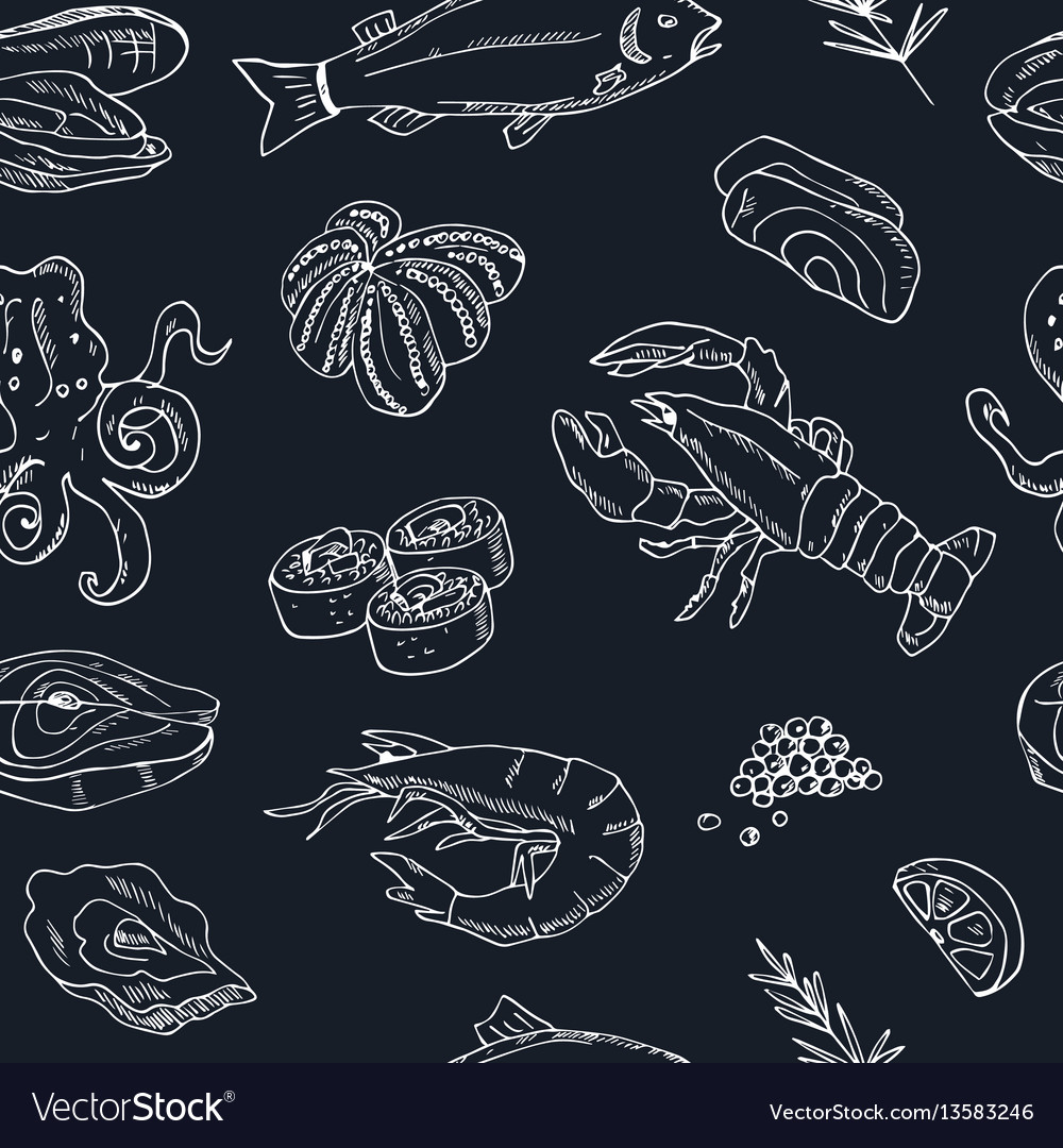 Seamless pattern with hand drawn seafood