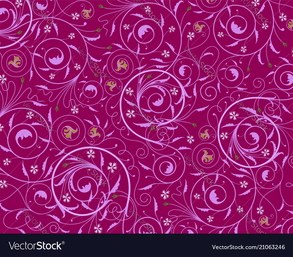 Seamless Purple Floral Wallpaper Royalty Free Vector Image