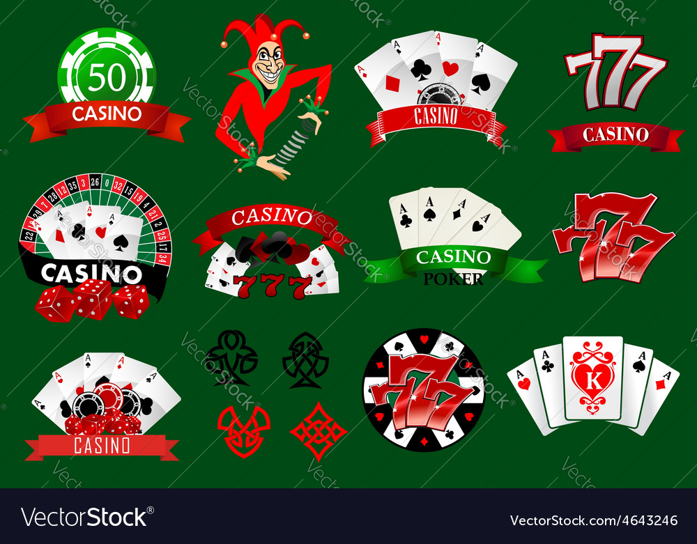 Set of colorful casino icons and emblems