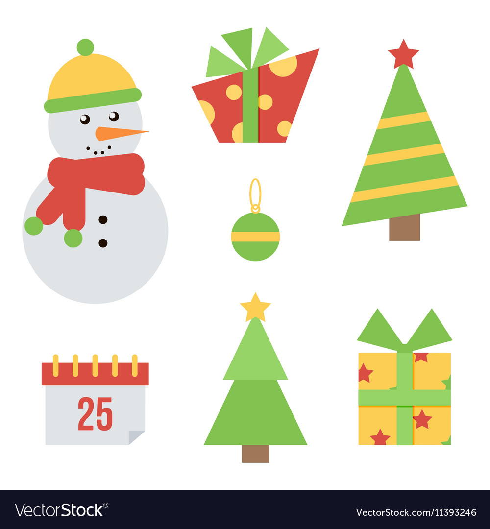 Set of cute christmas and new year icons