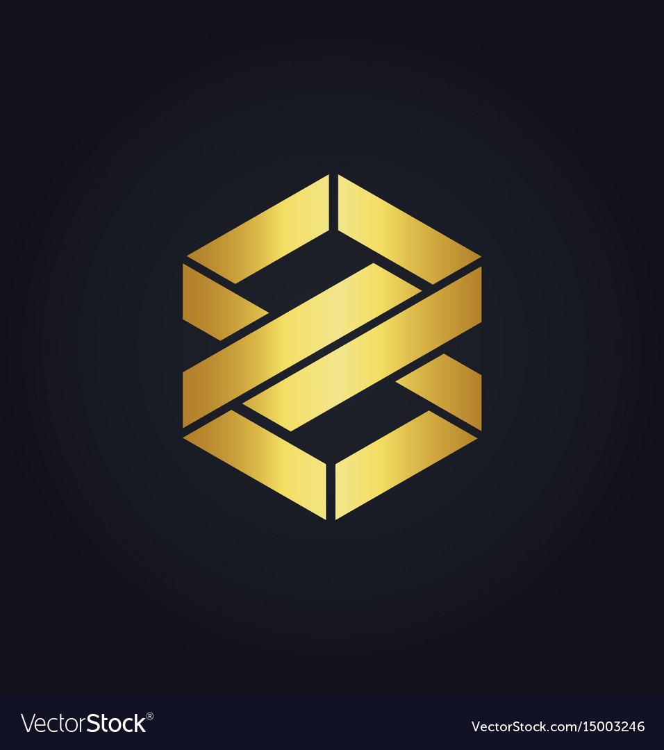 Shape infinity eight gold logo vector image