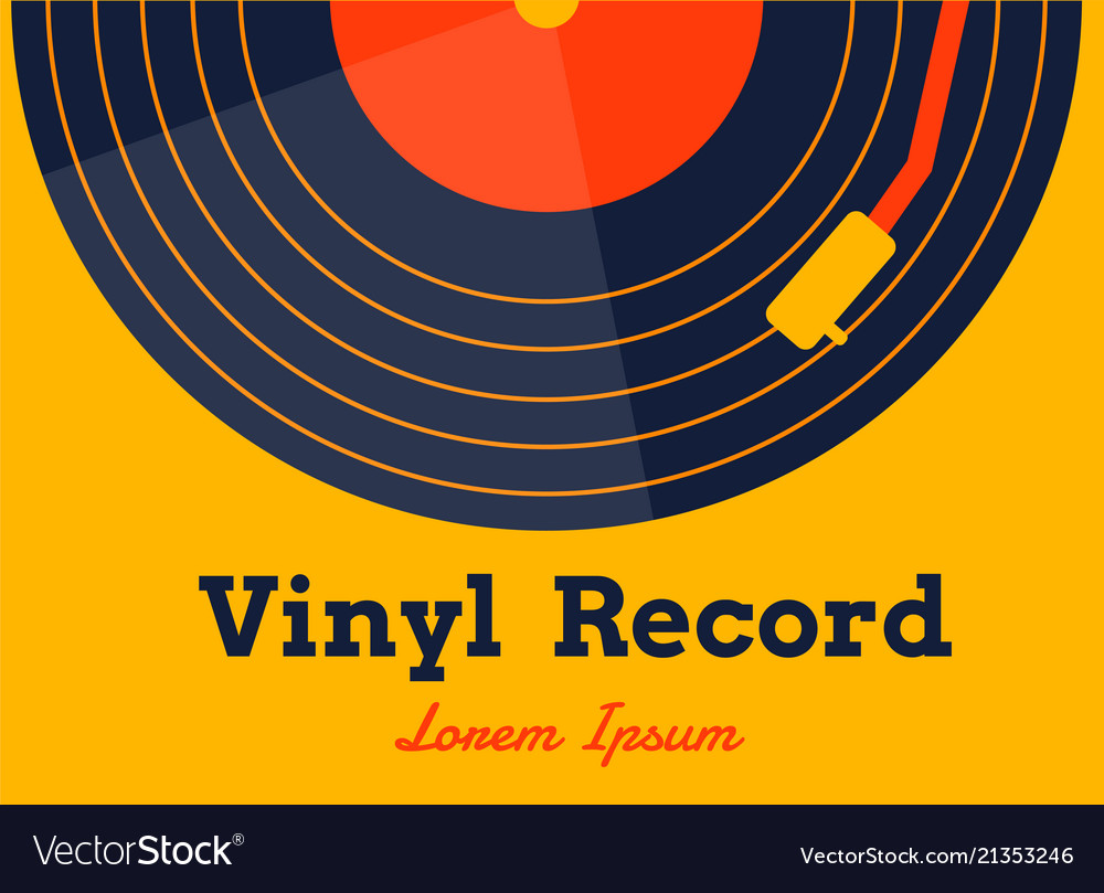 Vinyl record music with yellow background graphic