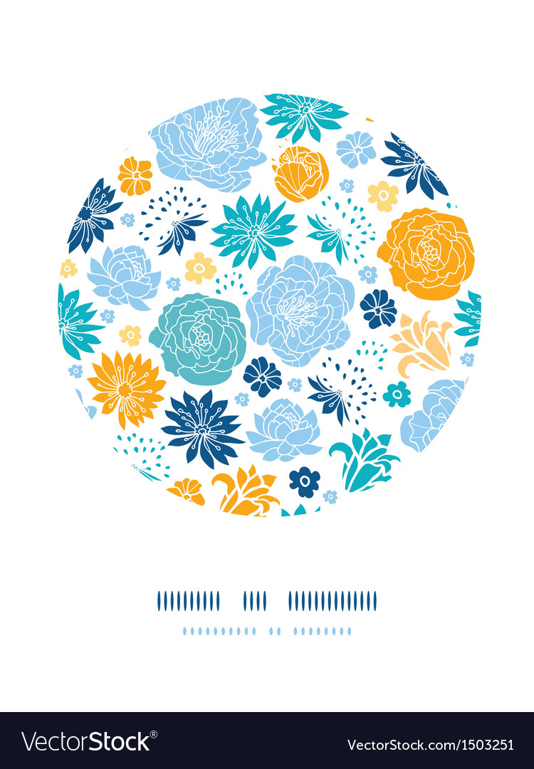 Blue and yellow flowersilhouettes circle decor
