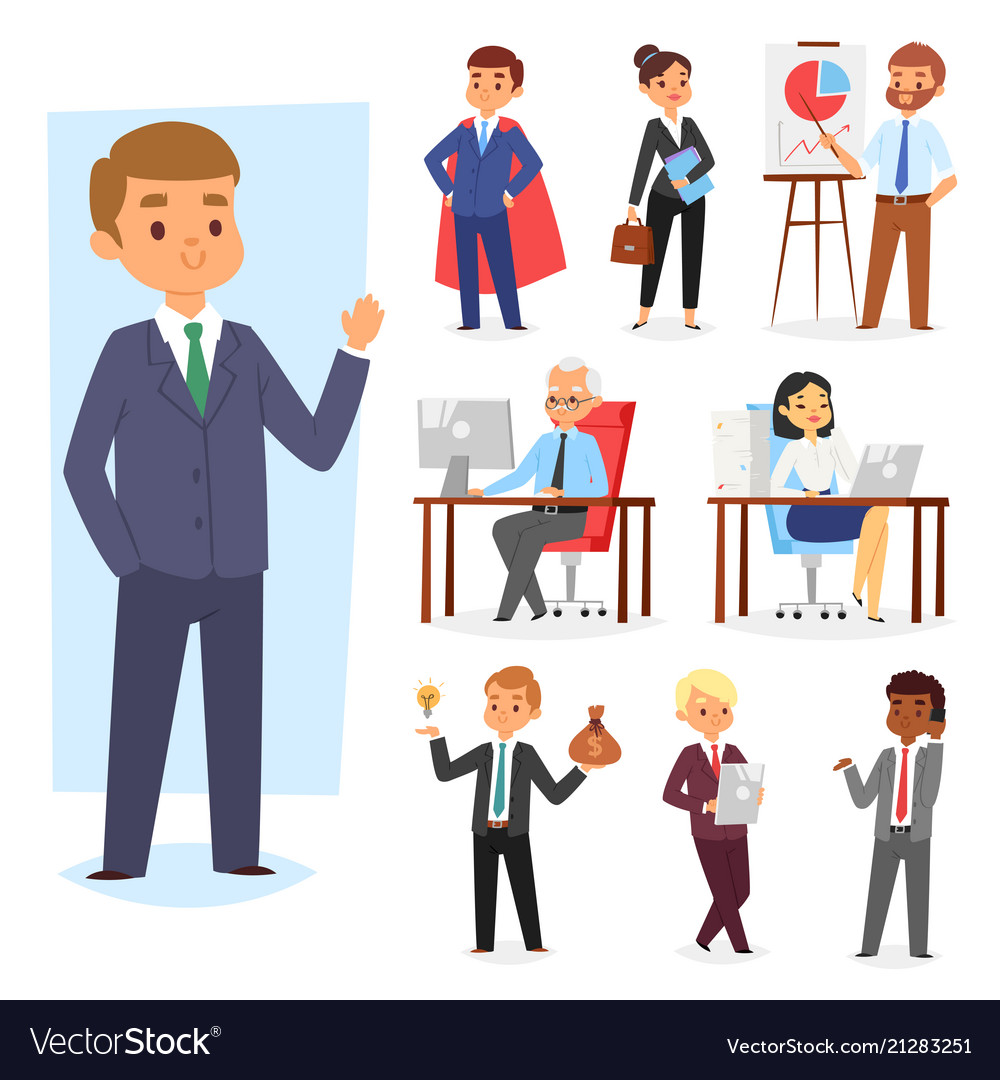 Businessman people work place and business