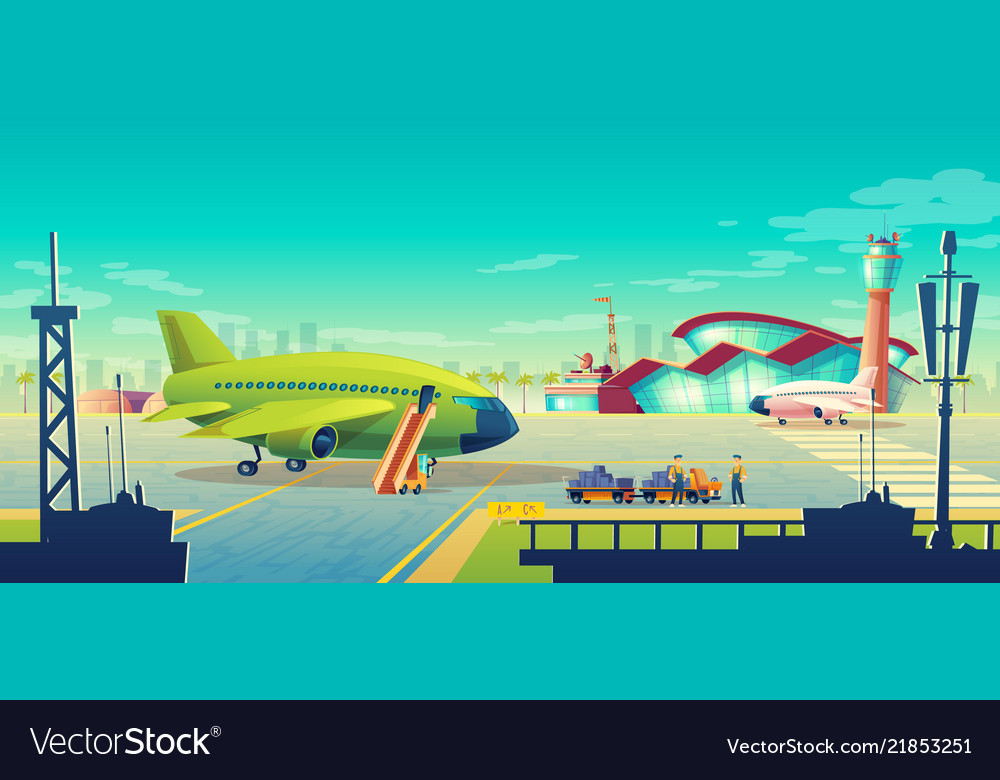 Cartoon airport landscape airliner on