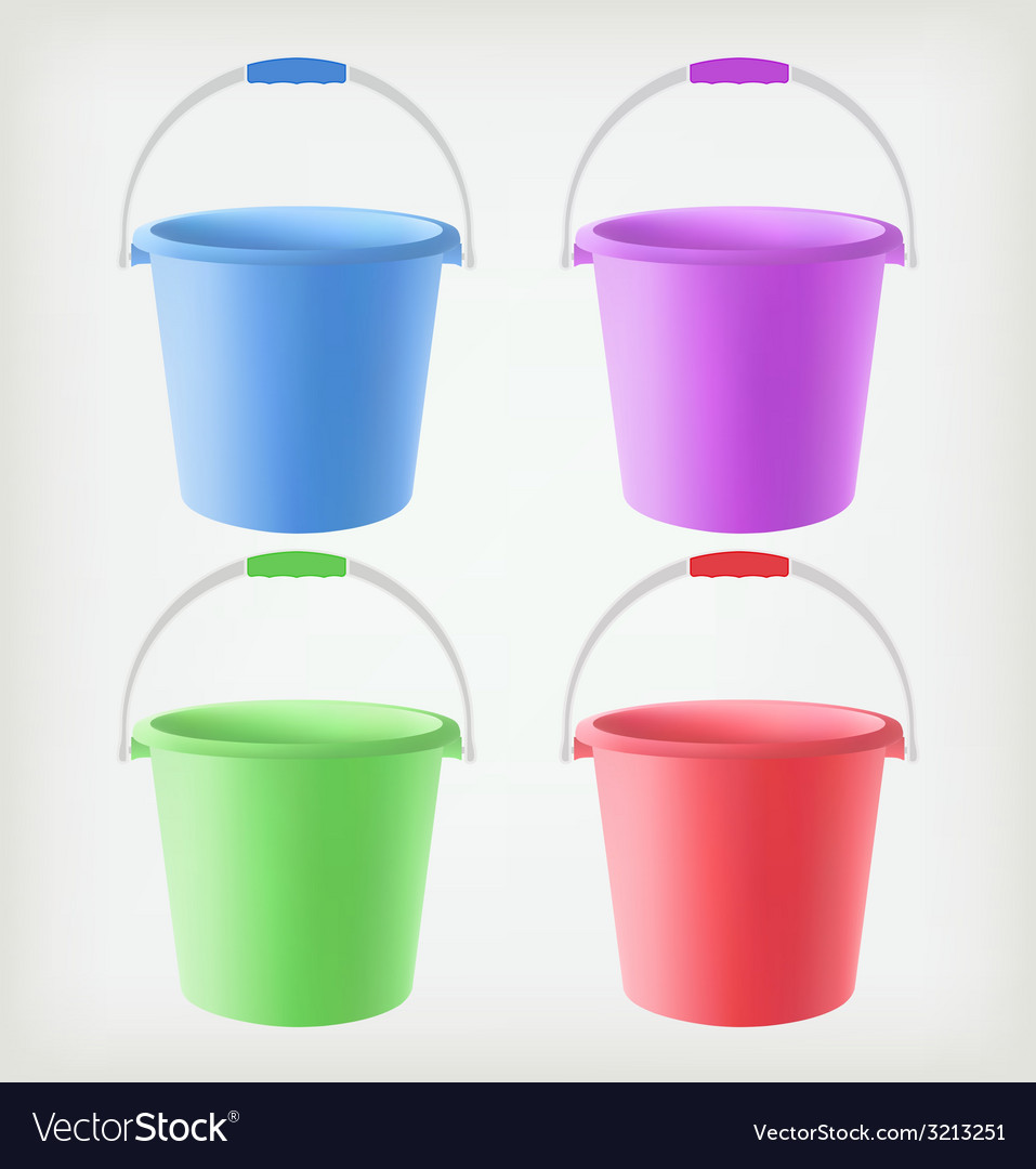 Colored Buckets Vector Image