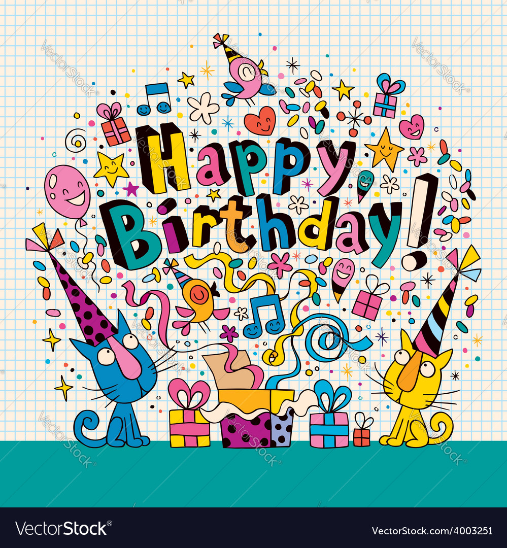 Happy Birthday Card With Cute Kittens Vector Image
