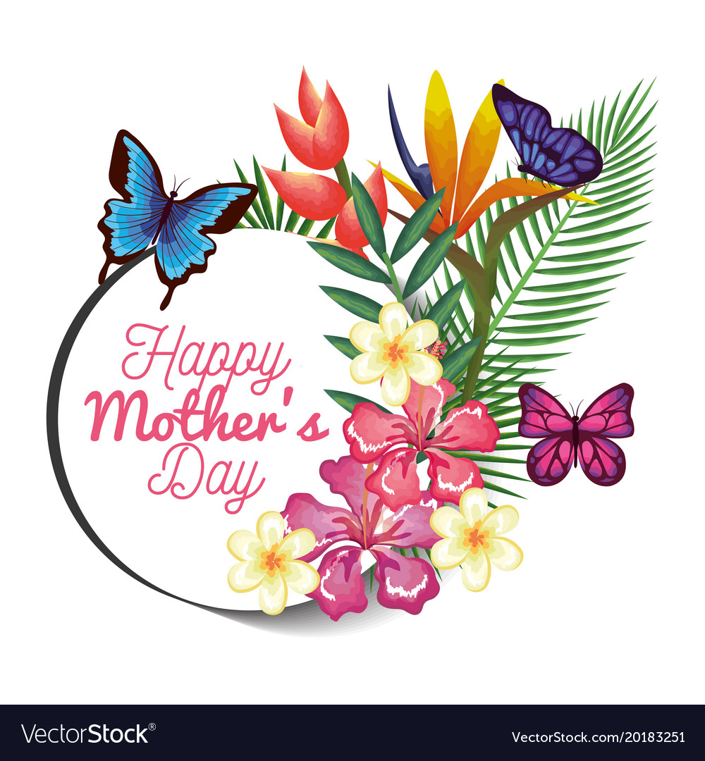 happy mothers day card with butterflies and floral