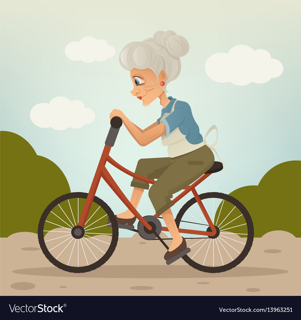 Happy smiling grandmother character riding bike