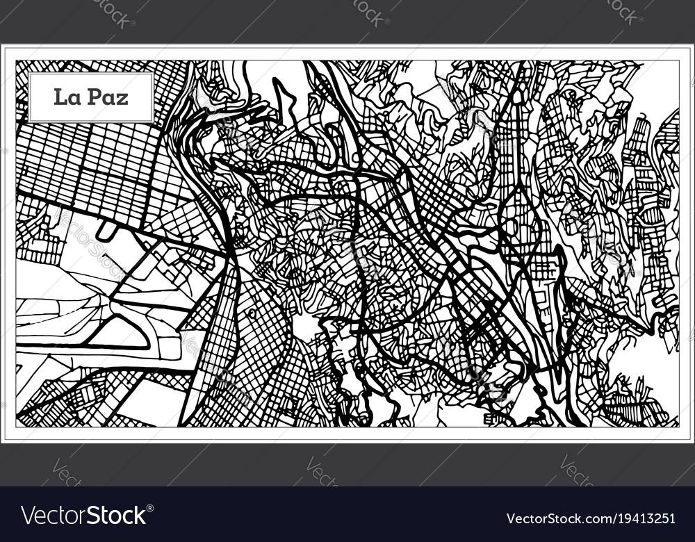 La paz bolivia city map in black and white color
