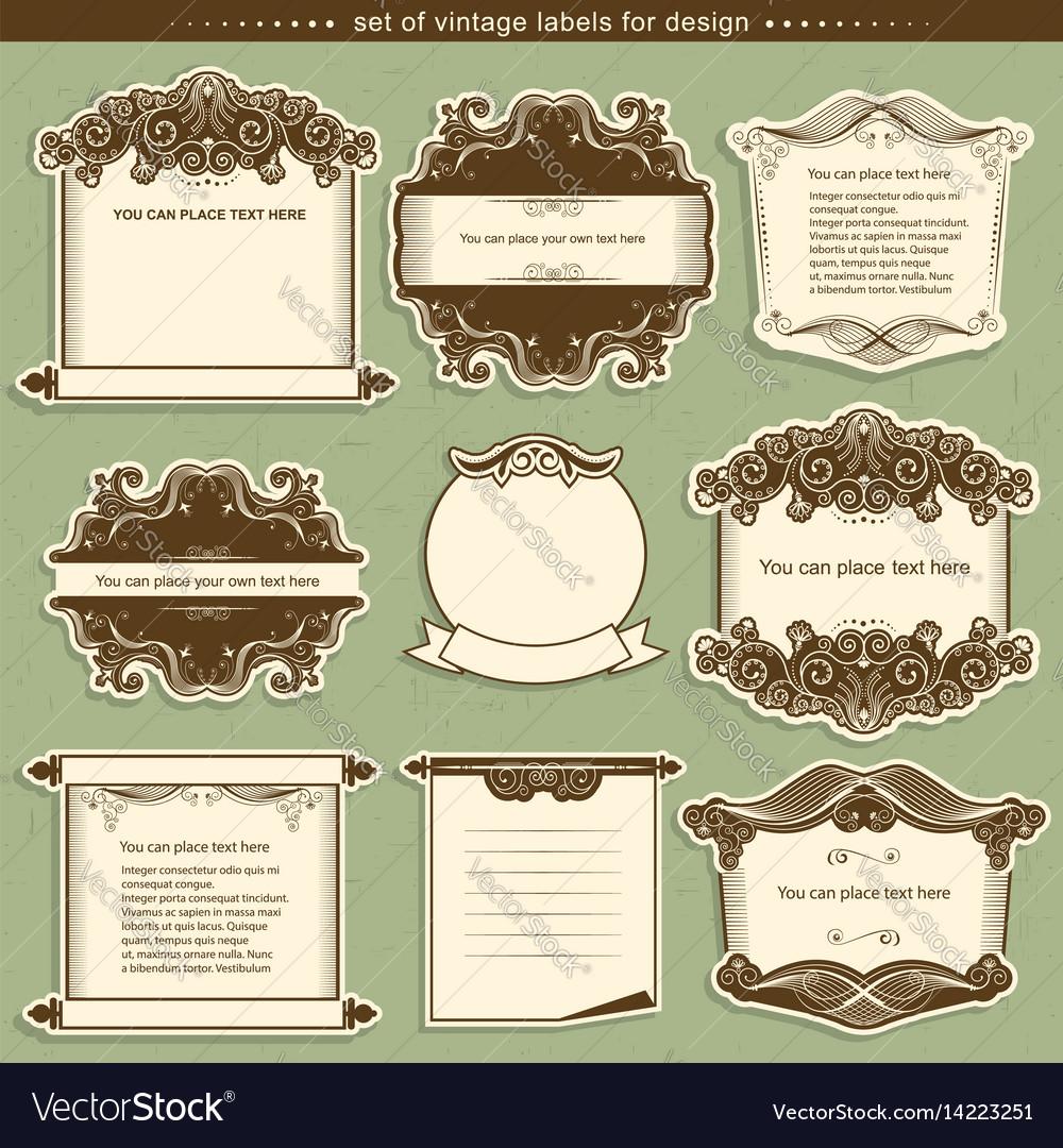 Label frames with decor vignettes vector image